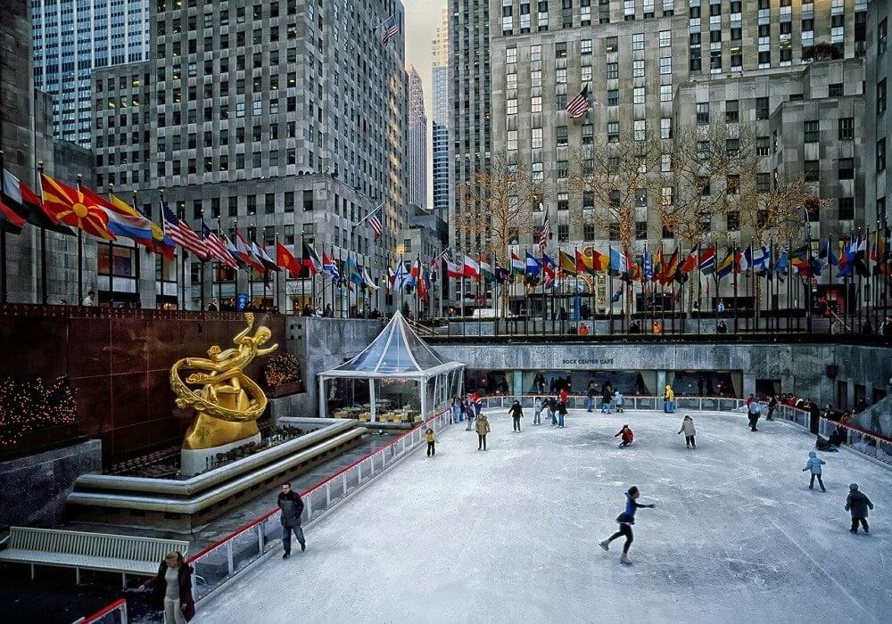 ice rink in Rockefeller Center in NYC in the winter