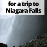 """niagara falls close up with text overlay """"what to pack for a trip to Niagara Falls"""""""