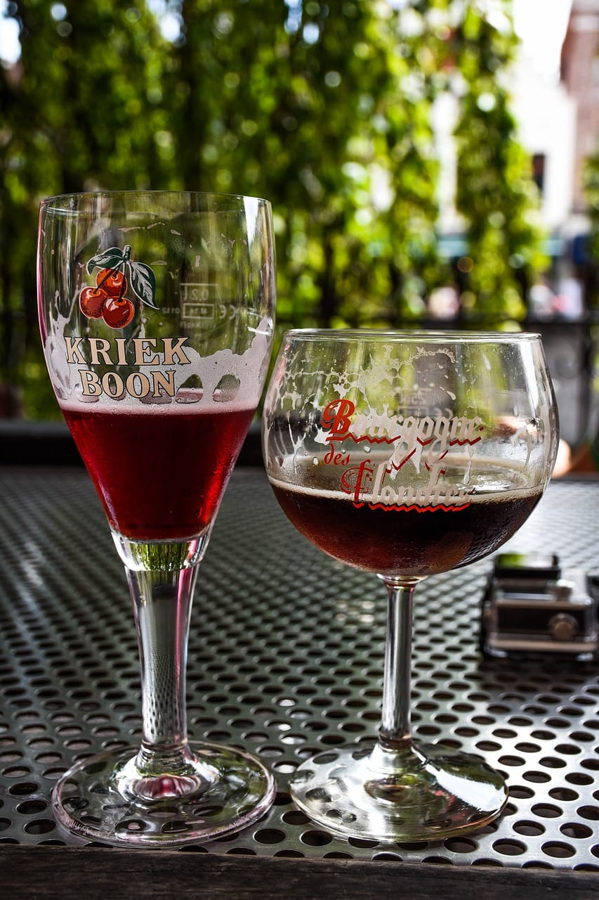 two glasses of kriek lambic (