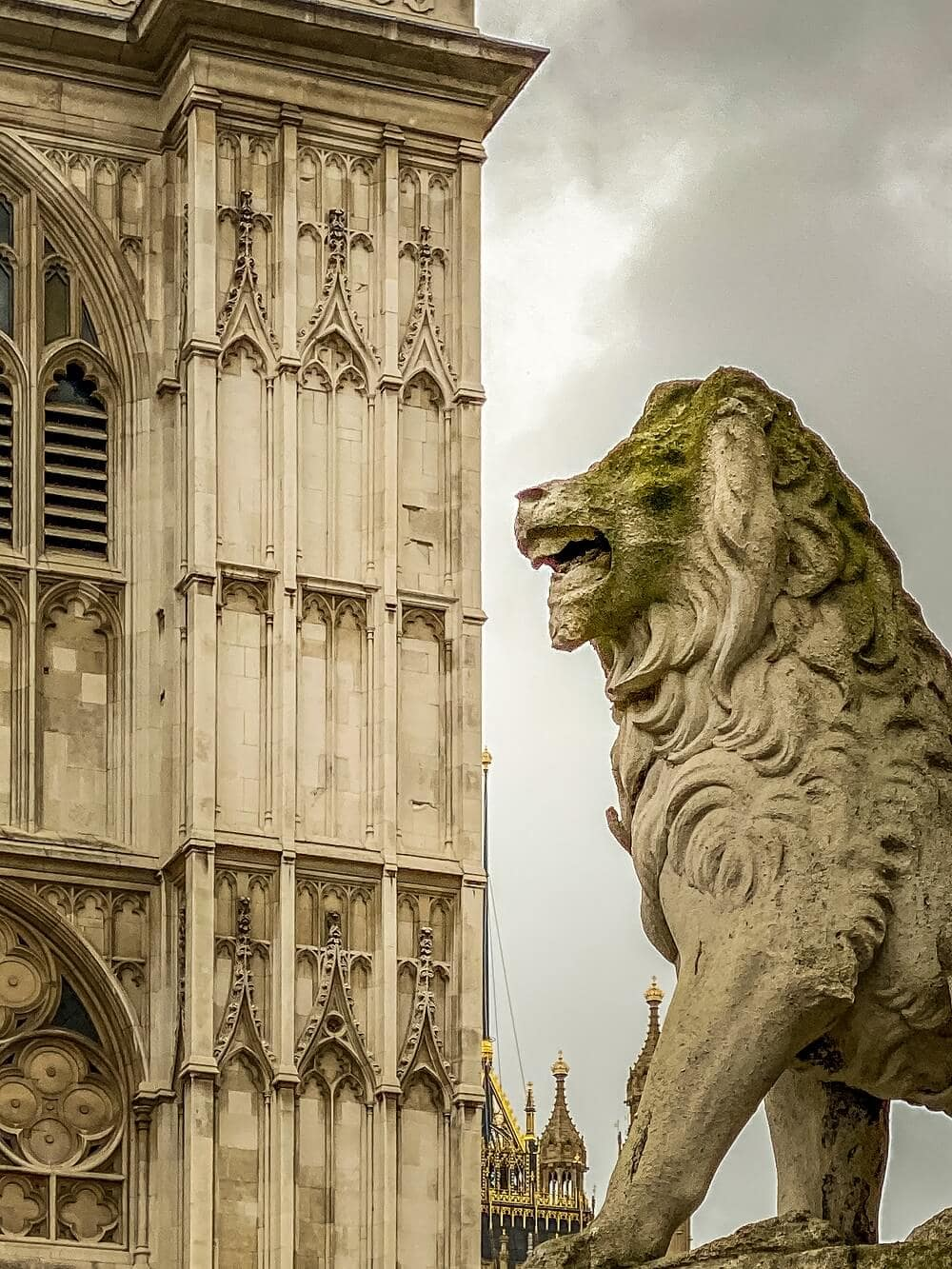 close up of lion outside westminster abbey