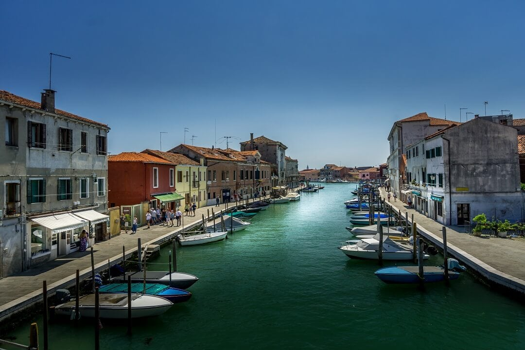 canal going through Murano in Venice