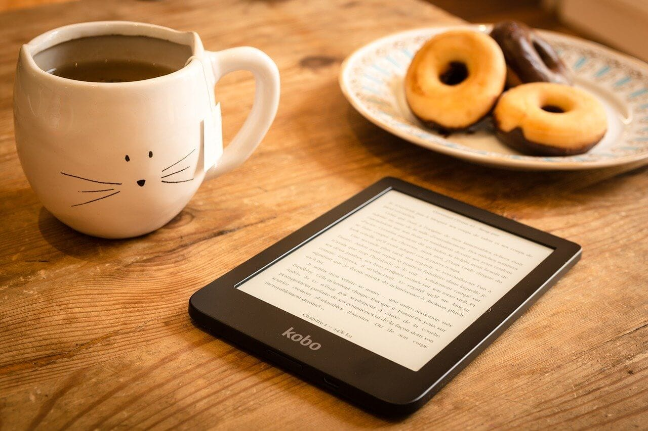 kindle, tea, and donuts