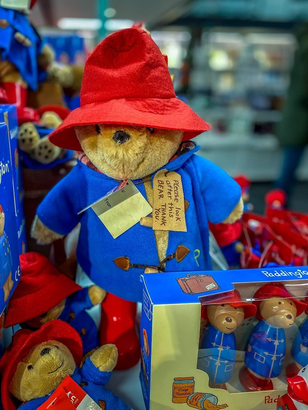 paddington bear at the gift shop at the London Transport Museum