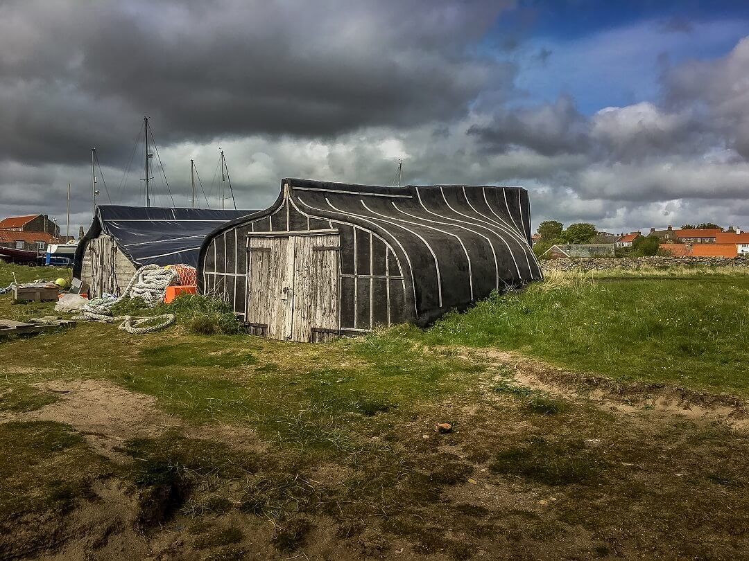 boats used as houses on Holy Island
