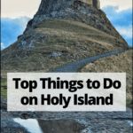 things to do on holy island pin graphic