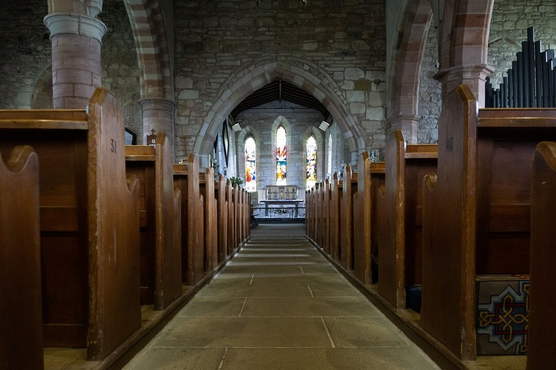 aisle inside st marys church