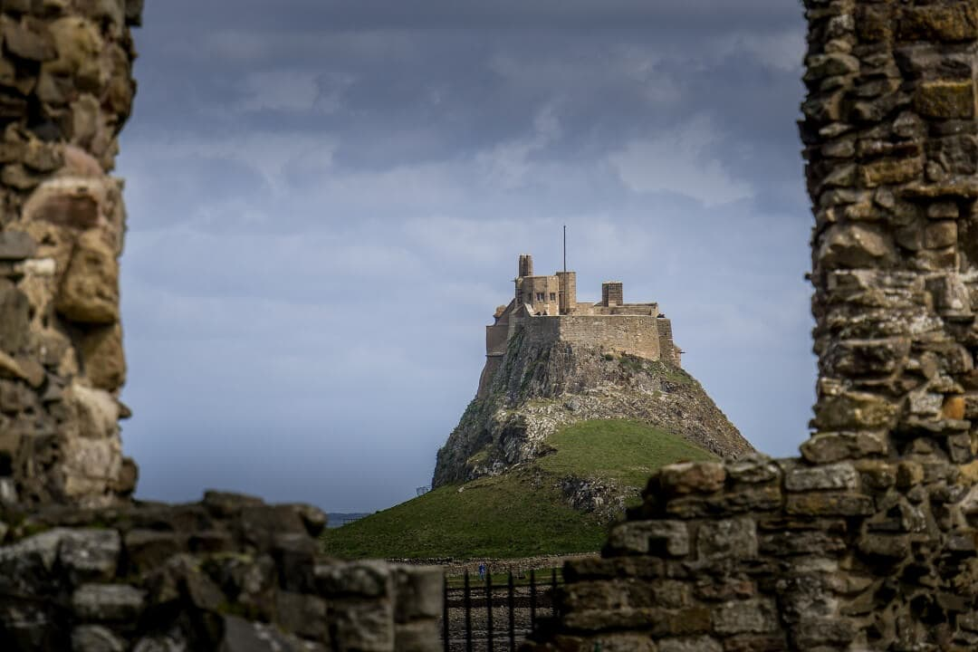 view of Lindisfarne Castle from Lindisfarne Priory