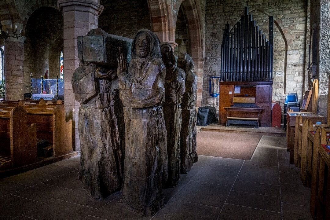 wooden sculpture inside st marys church