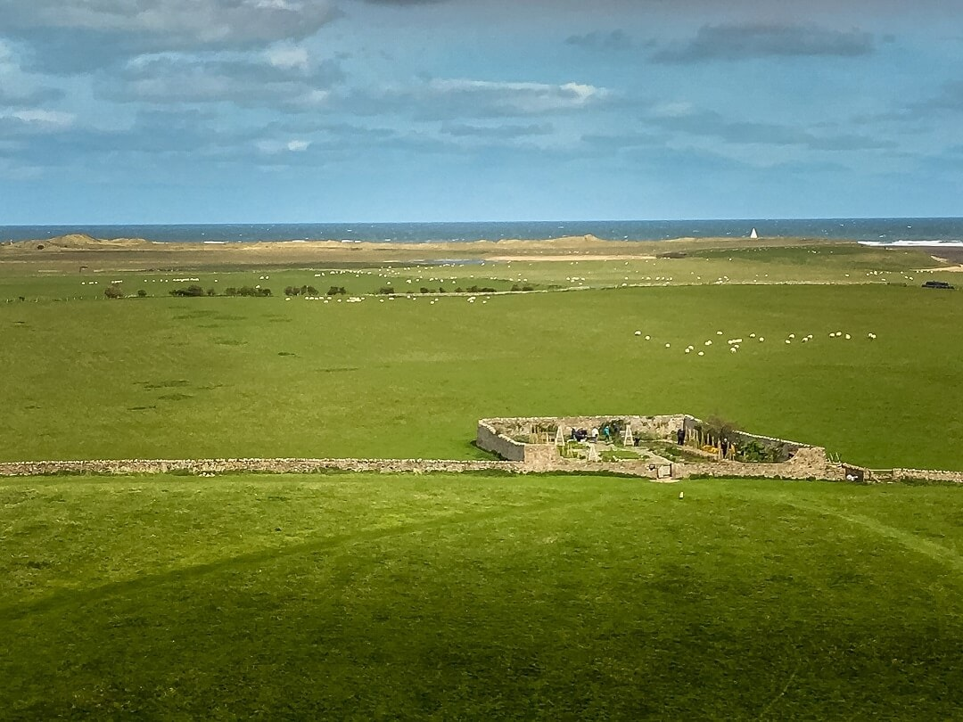 view of the walled garden from Lindisfarne Castle