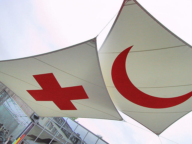 red cross flags