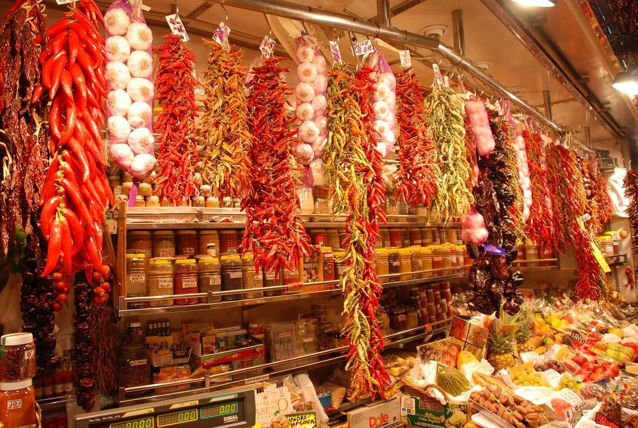 food at la boqueria market in barcelona