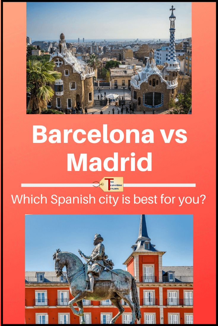 picture of park guell and plaza mayor with text overlay Barcelona vs. Madrid which Spanish city is best for you