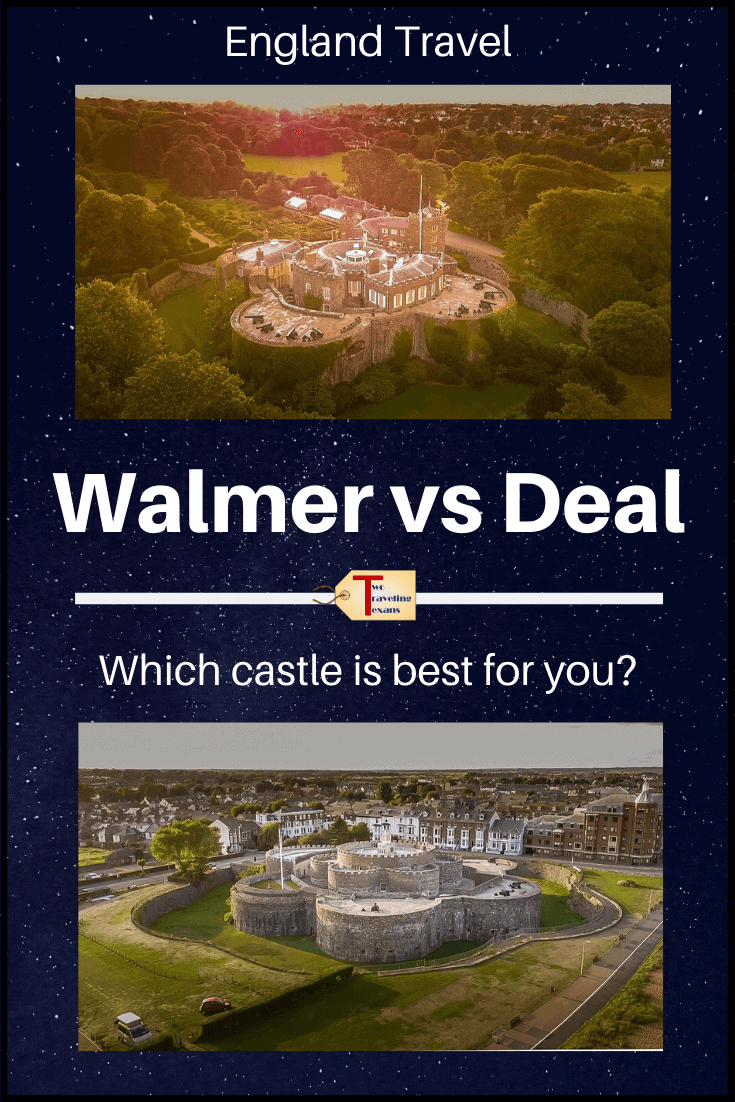 "picture of walmer and deal castles with text overlay ""Walmer vs Deal, Which castle is best?"""