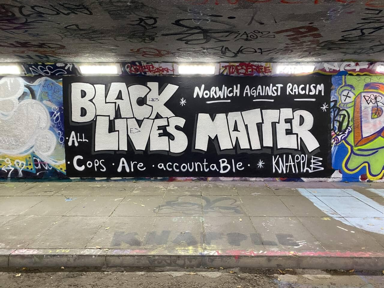 original black lives matter street art in Norwich