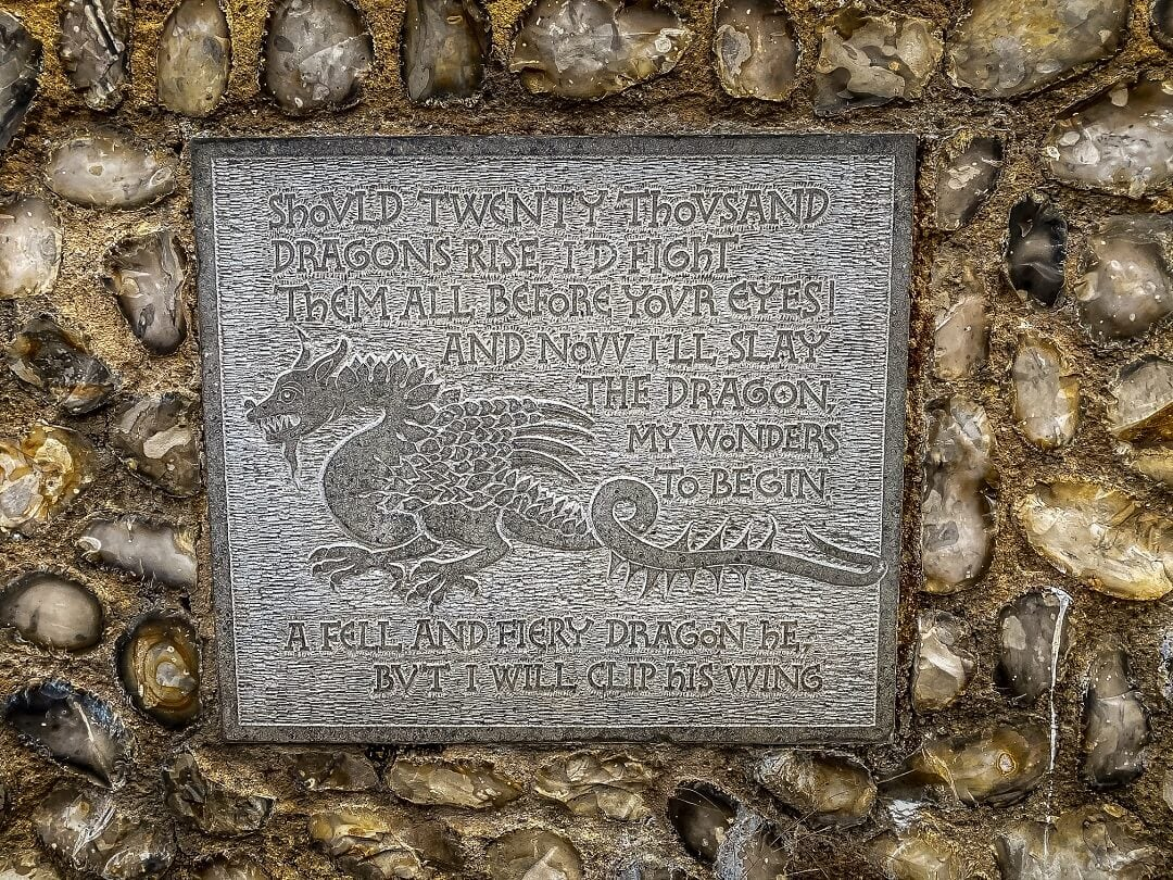 dragon plaque from castle gardens in Norwich