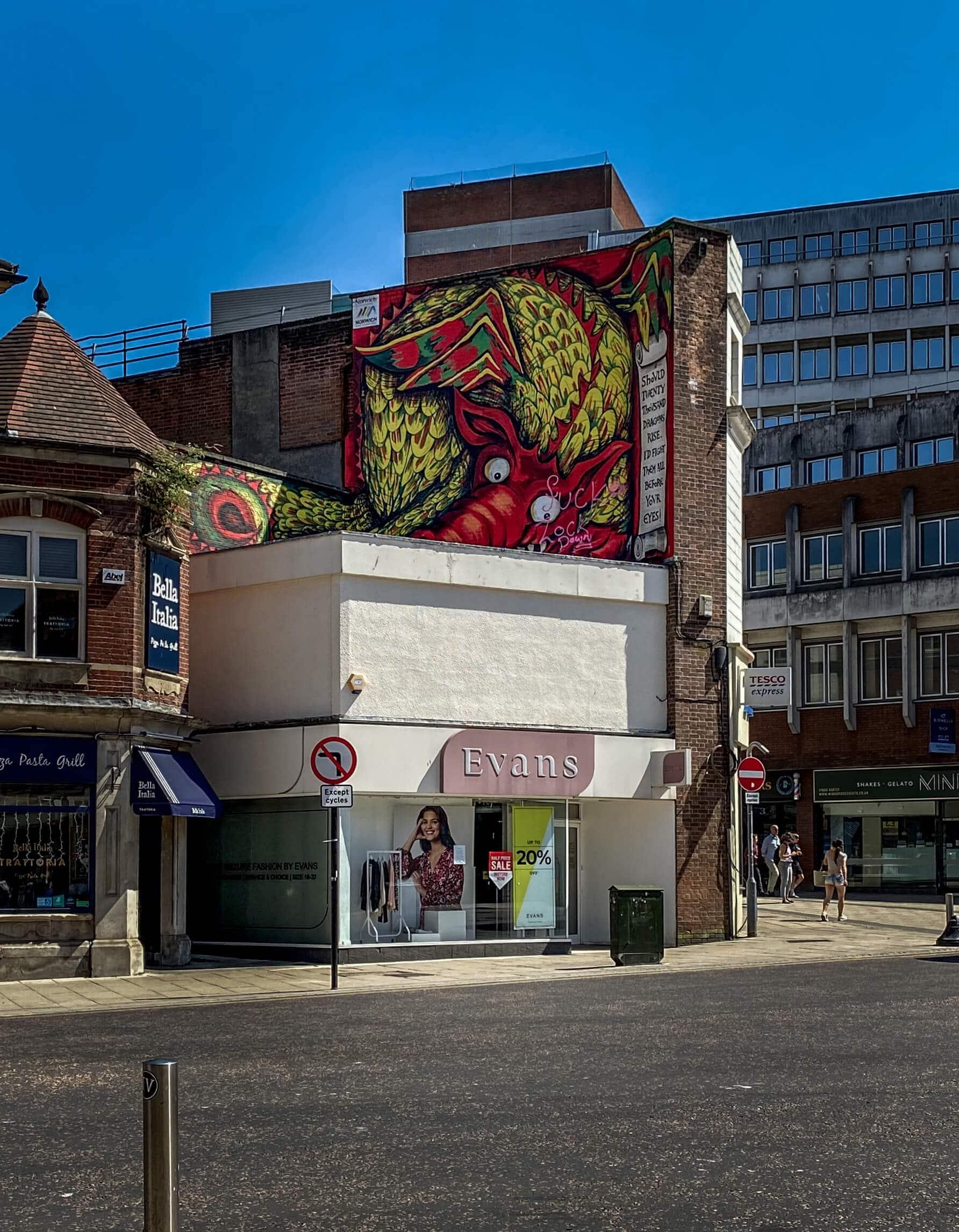 dragon mural in norwich england