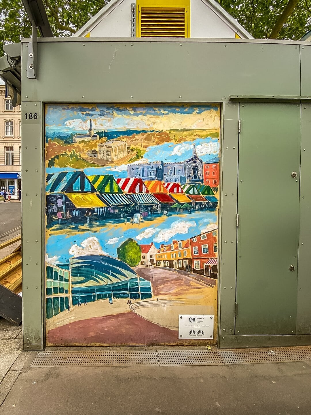 mural of norwich market at norwich market