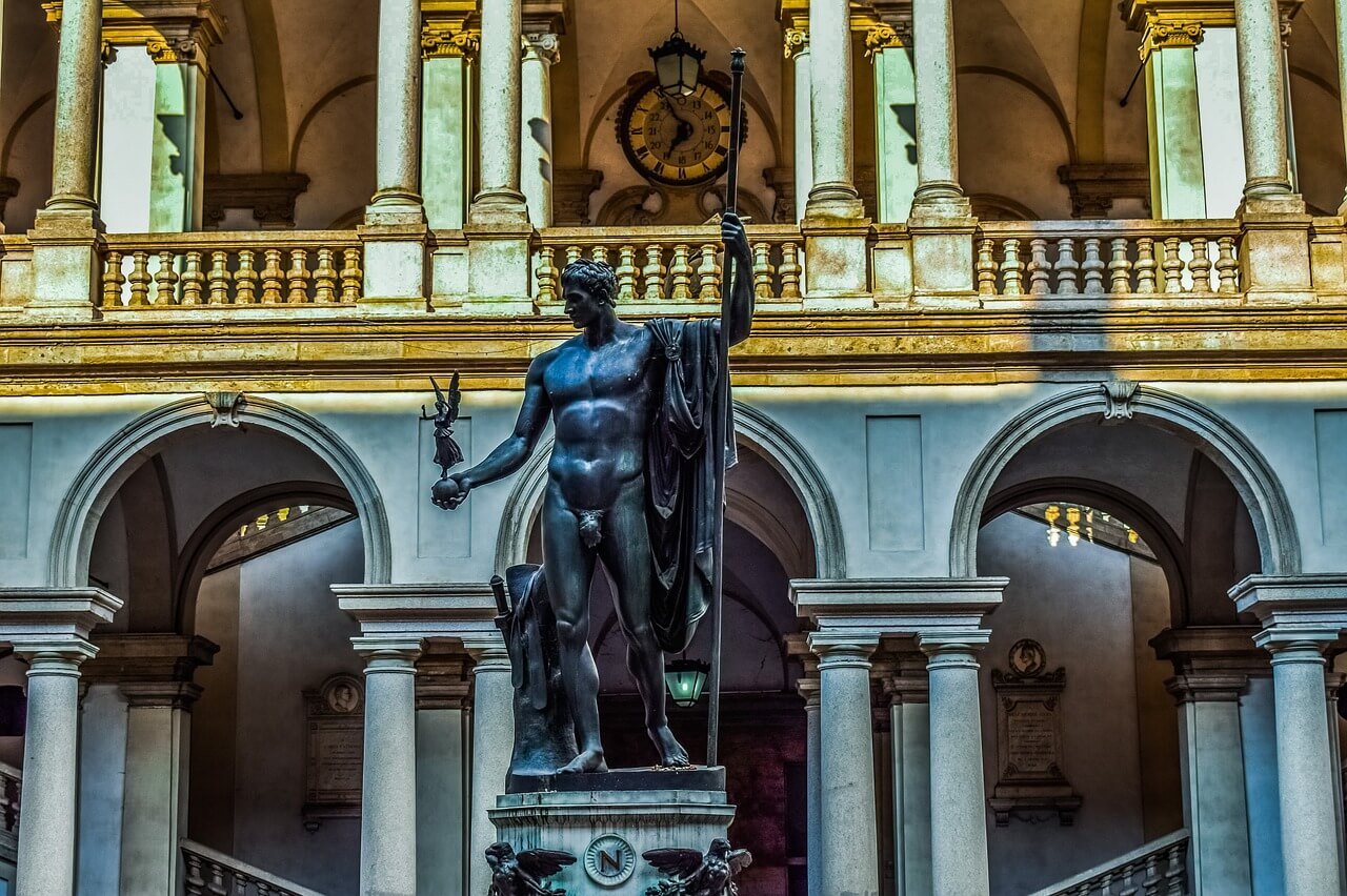 The Pinacoteca di Brera has a collection of paintings dating from the Middle Ages to the Romantic period in a stunning neoclassic building in Milan