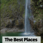 "waterfall in madeira with text overlay ""The best places to go hiking in Portugal"""
