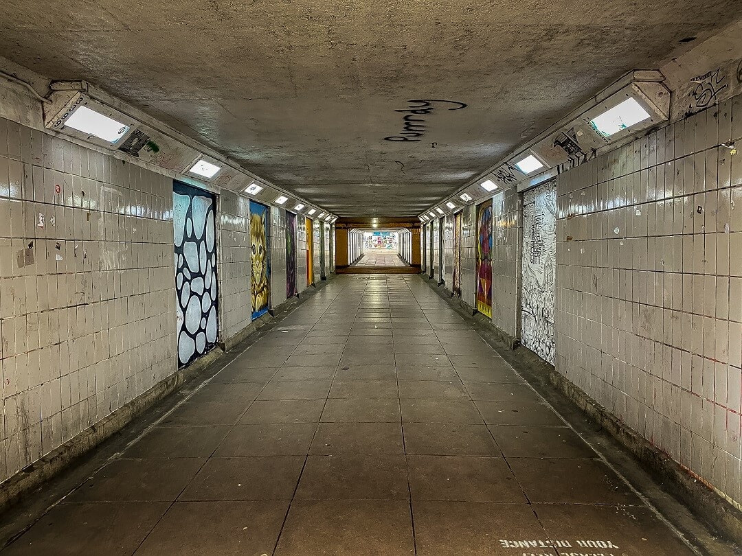 st stephens underpass in Norwich is lined with paintings
