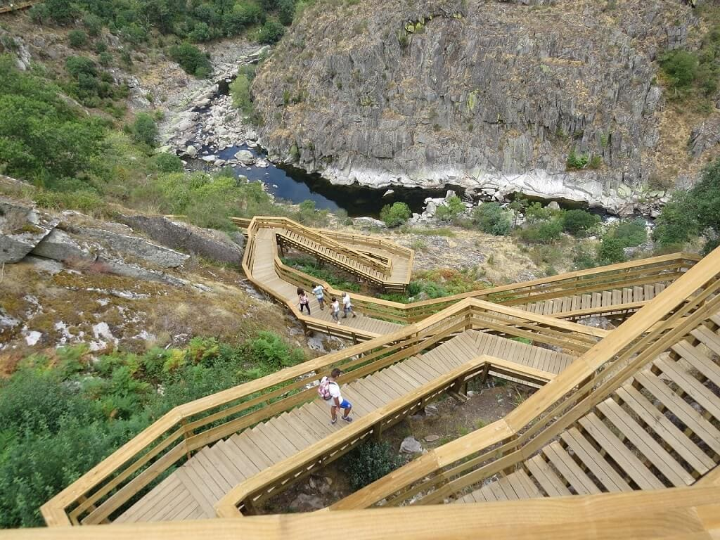 wooden stairs that make up the Paiva Walkways in Portugal