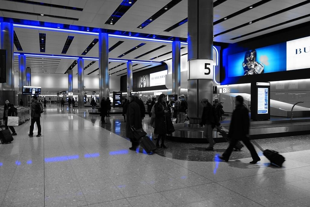 baggage claim area at Heathrow Airport