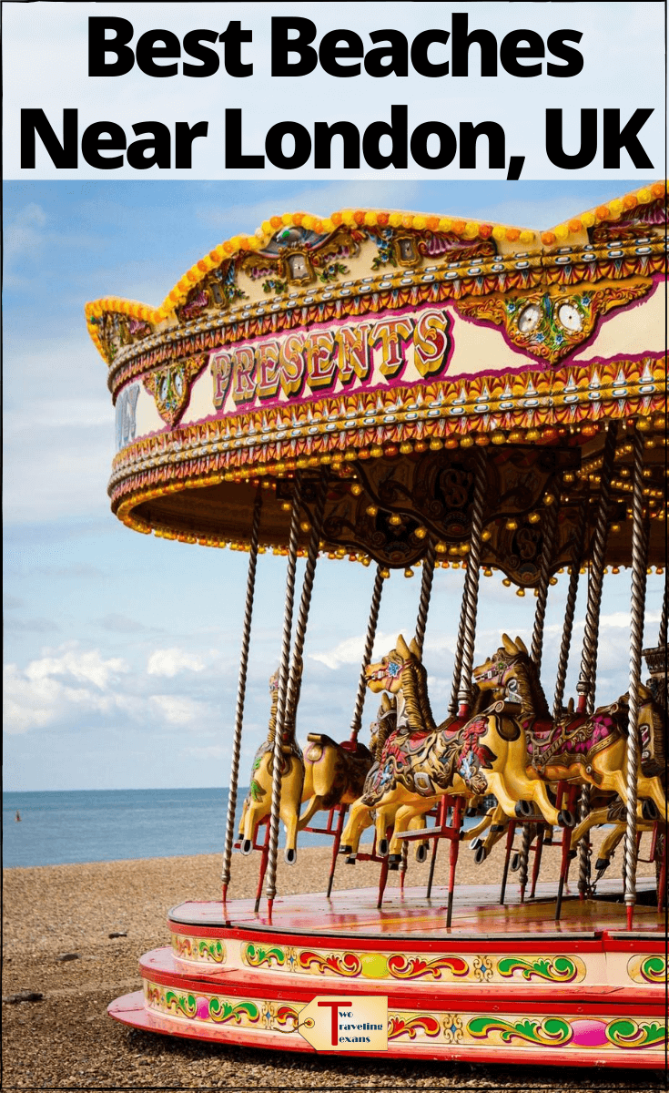"carousel on the beach in brighton with text overlay ""Best Beaches Near London"""