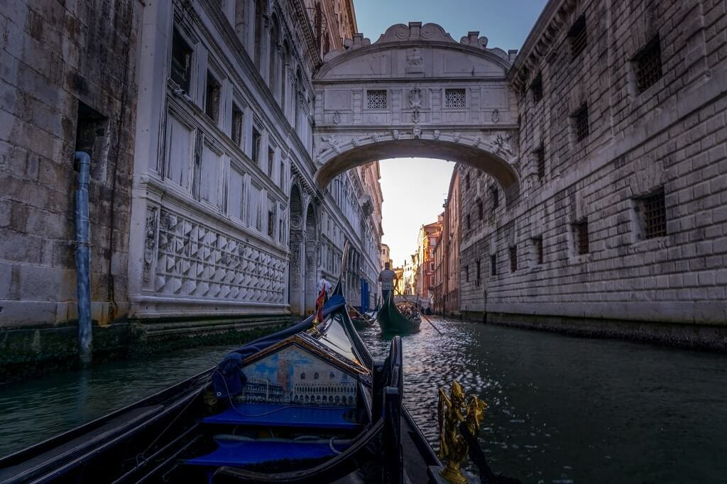 going under the bridge of sighs on a gondola