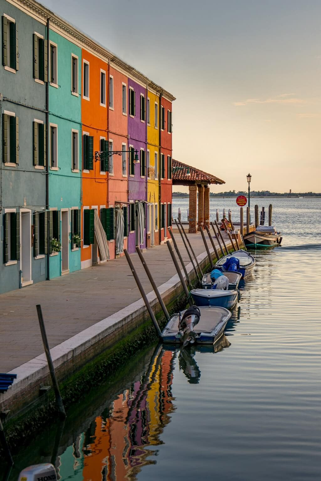 colorful houses and canal in Burano Italy