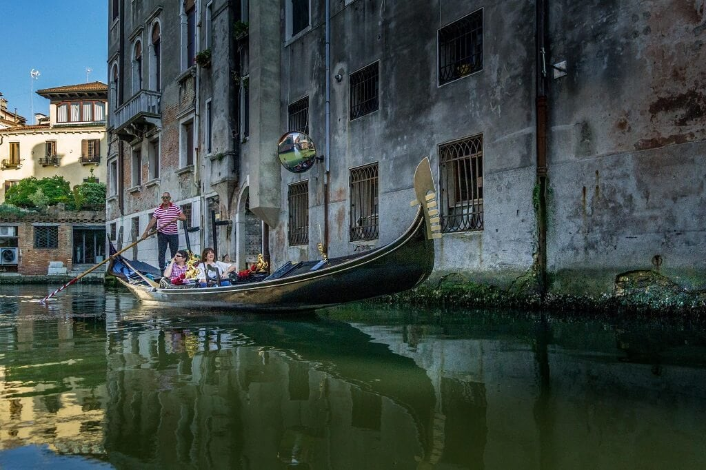 gondola ride in Venice on small canal