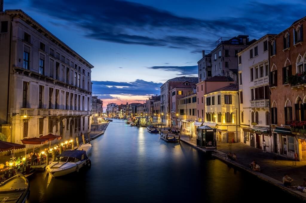 peaceful canal in venice at night
