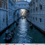 "gondola going under the bridge of sighs in venice with text overlay "" tips for a romantic gondola ride in venice, italy"""
