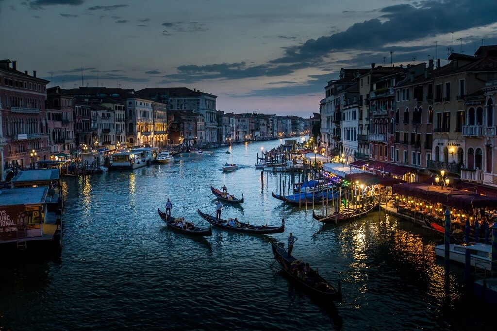 view of the grand canal in Venice at night