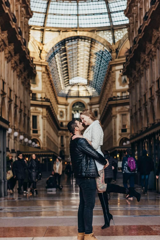 couple in Galleria Vittorio Emanuele in Milan