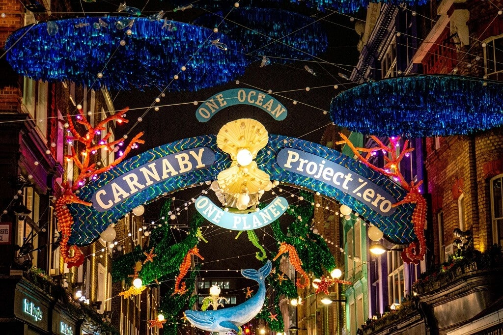 christmas decorations for Carnaby St in 2019 has an environmental theme