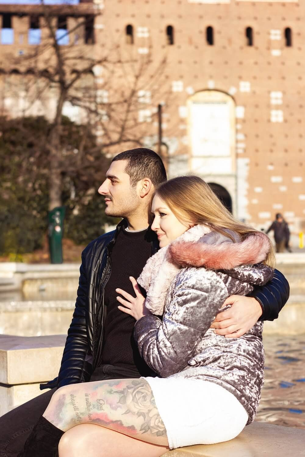 couple in front of Sforza castle