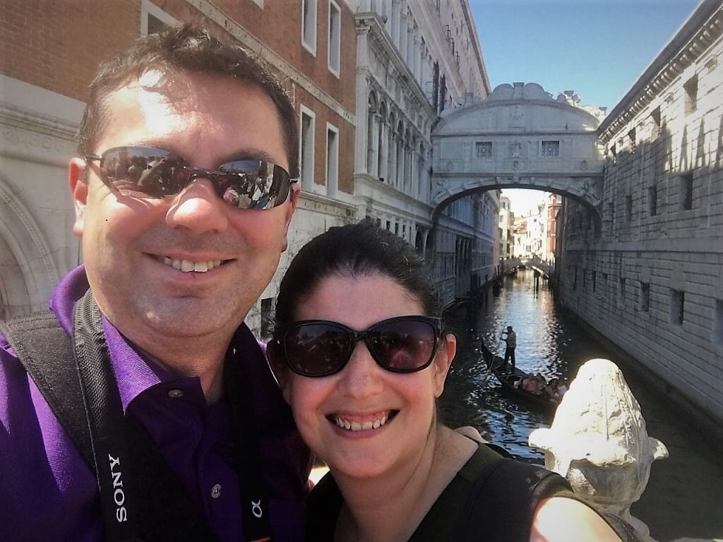 russell and anisa in front of the bridge of sighs in Venice Italy