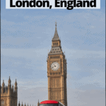 """big ben and a double decker bus in London with text overlay """"The Best Half Day Trips from London England"""""""