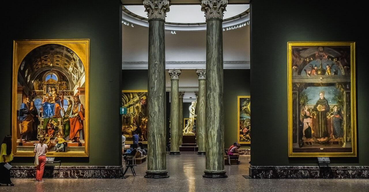 inside the Pinacoteca di Brera art museum in Milan