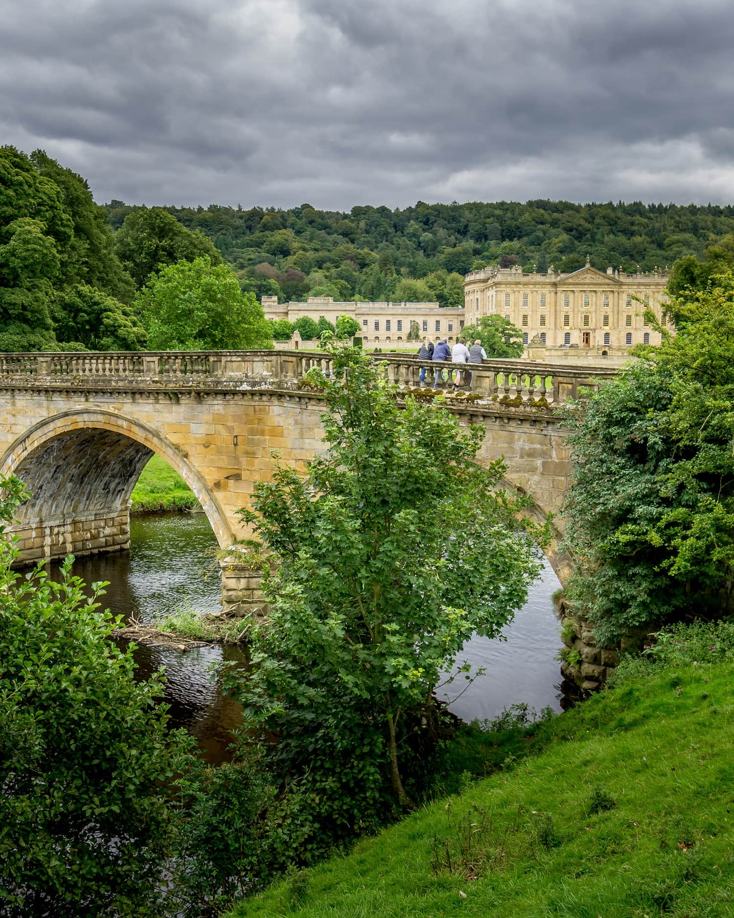 bridge over the River Derwent looking towards Chatsworth House