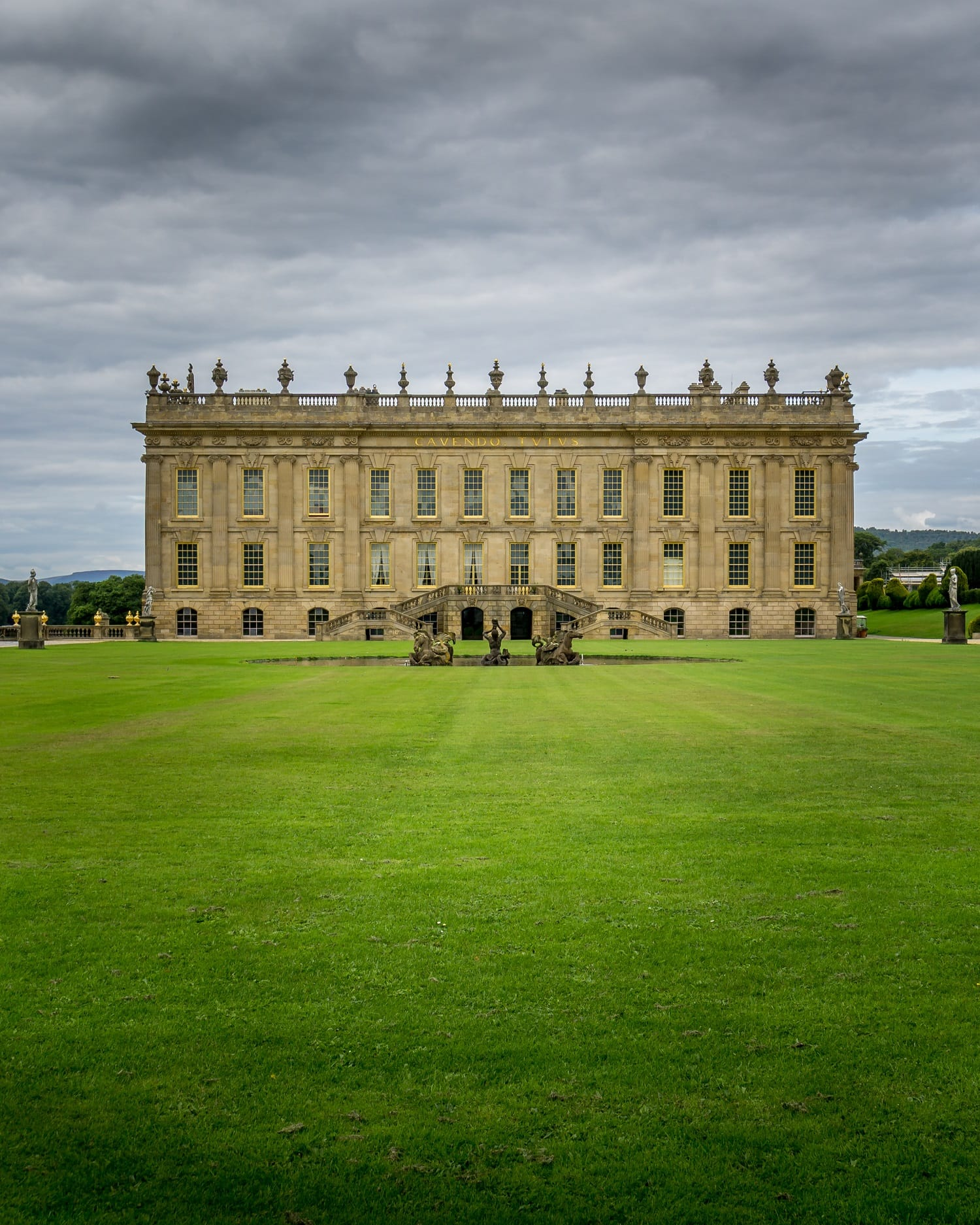 view of Chatsworth House from the Gardens