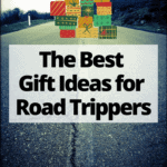 """empty country road with text overlay """" the best gift ideas for road trippers"""" and presents"""