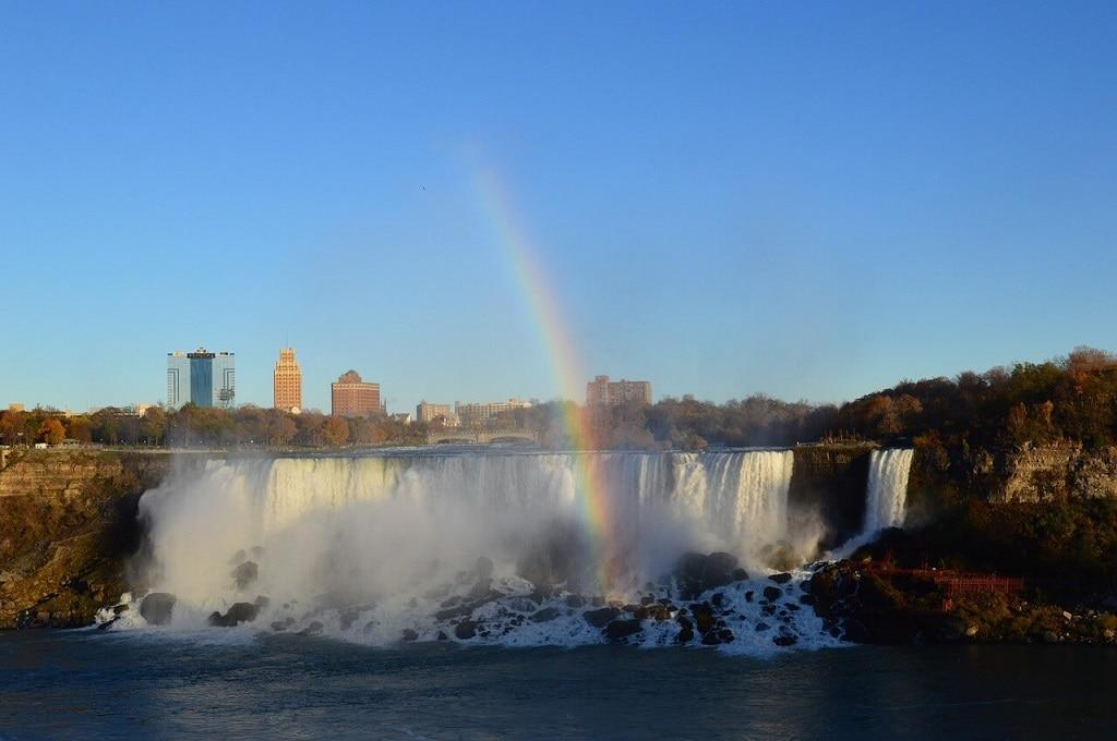 rainbow over the American Falls at Niagara Falls