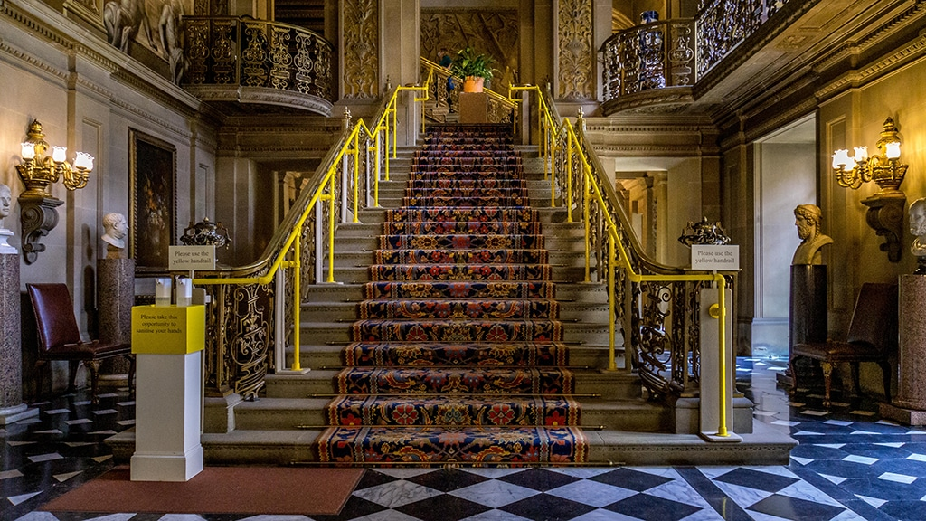 staircase inside the Painted Hall at Chatsworth House in the Peak District