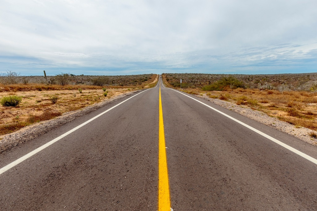 empty road in baja calfornia in mexico