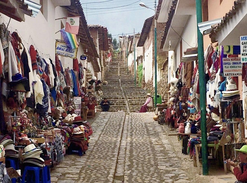 steps up to a church in Chichero Peru