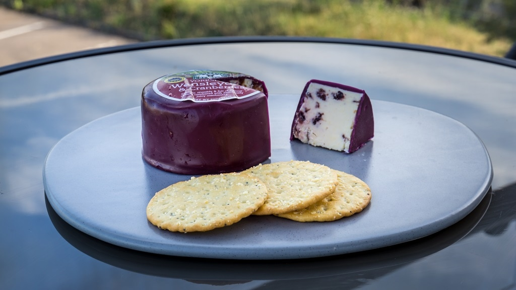 wensleydale cheese with cranberries and a few crackers