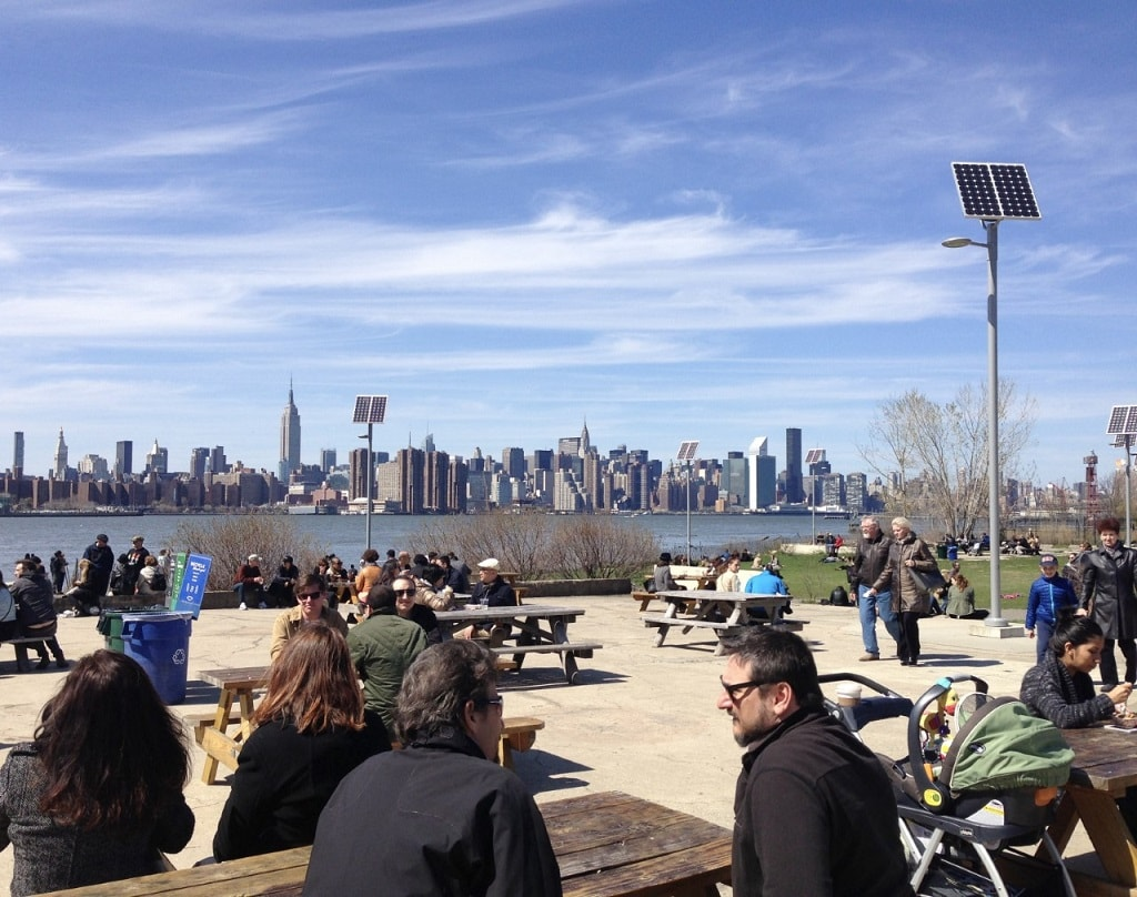 view of manhattan from smorgasburg in williamsburg brooklyn