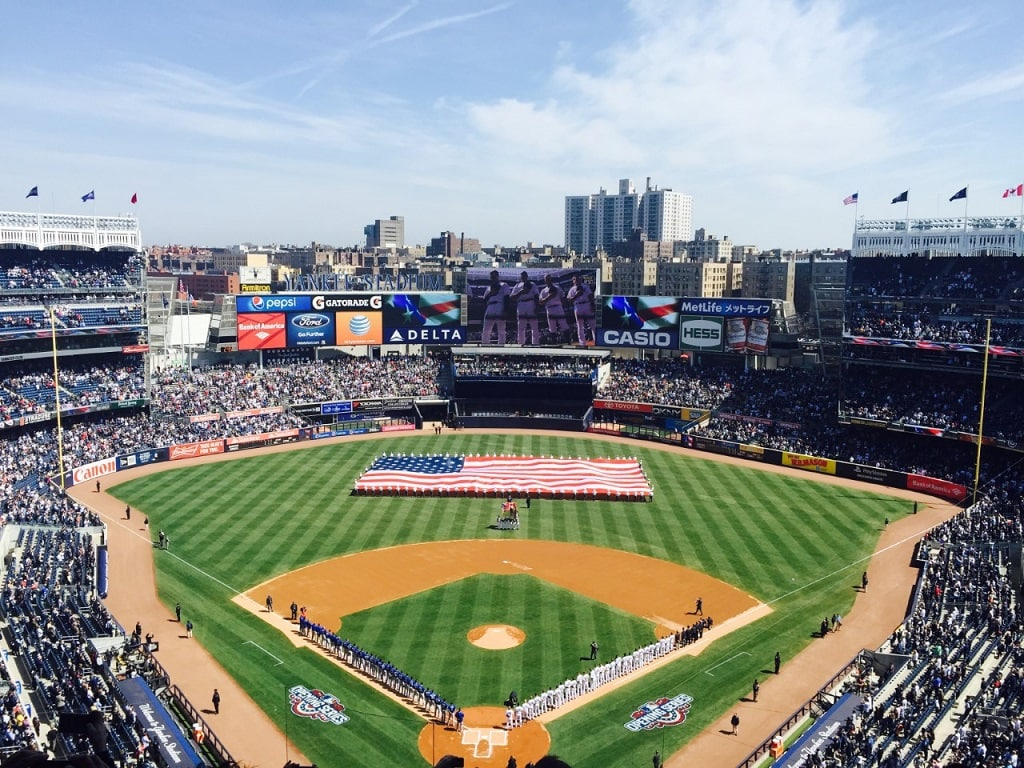 Yankee Stadium field in the Bronx NYC on a spring day