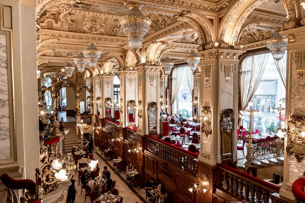 view of the inside of the New York Cafe in Budapest, perfect for a romantic breakfast